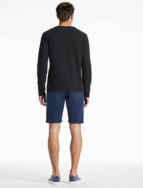 LONG SLEEVE NOTCH TEE, JET BLACK