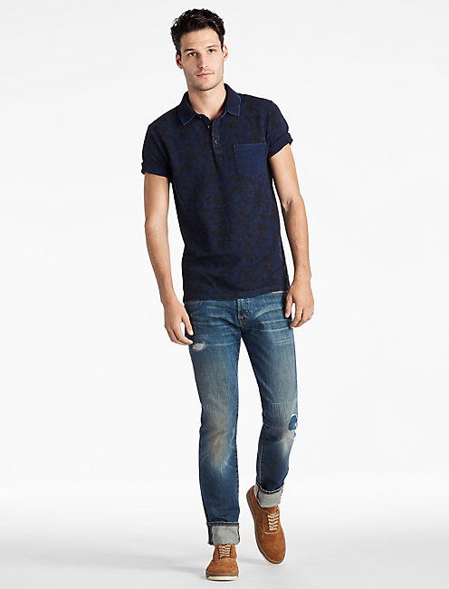 INDIGO PALM POLO SHIRT,