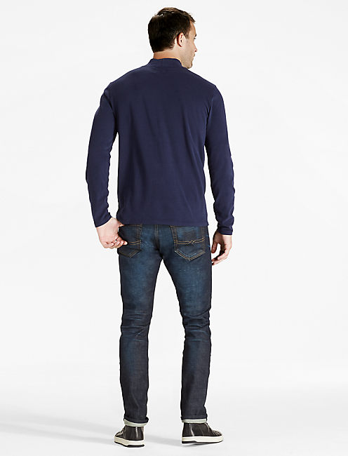 SUPIMA COTTON TURTLENECK, NAVY BLAZER