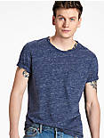 1 POCKET CREW TEE, HEATHER BLUE