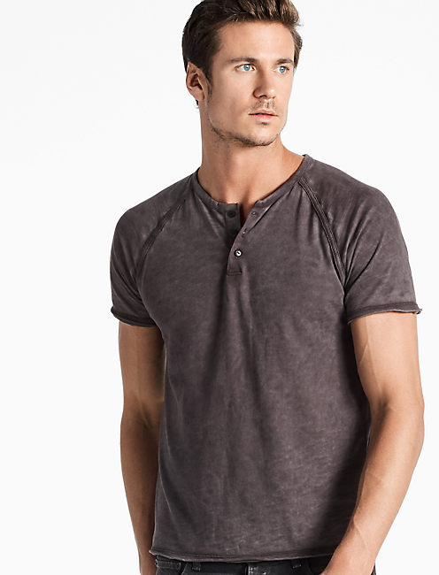 PIGMENT DYED HENLEY, JET BLACK