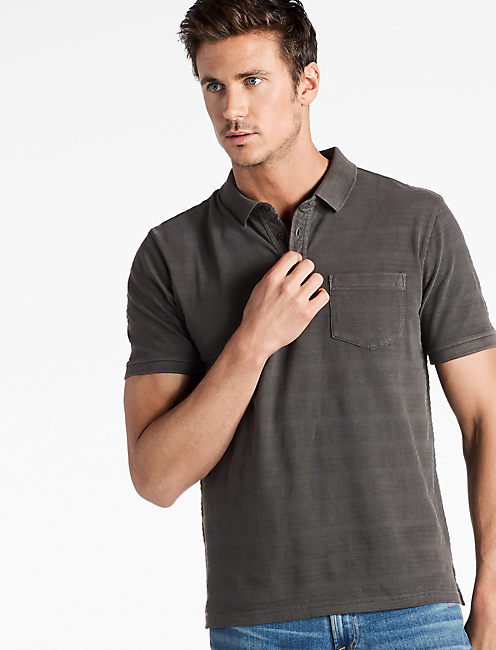 JAMES STRIPE POLO SHIRT, BLACK MOUNTAIN
