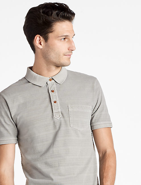 JAMES STRIPE POLO SHIRT, FROST GRAY
