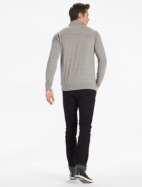 SATURDAY STRETCH POPOVER MOCK, HEATHER GREY