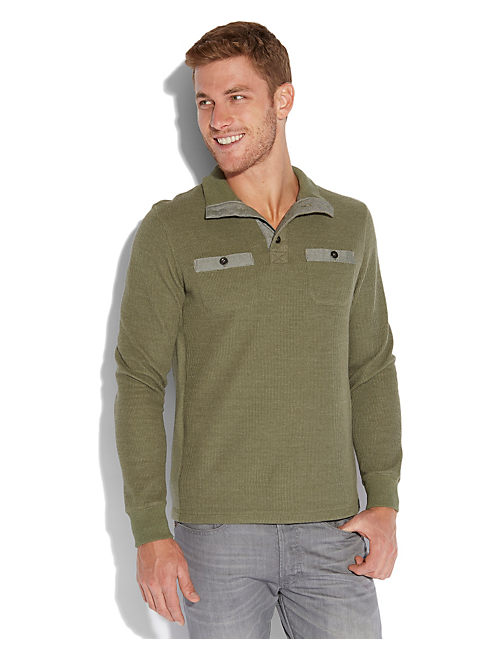 FRENCH RIB MOCK NECK, HEATHER GREEN