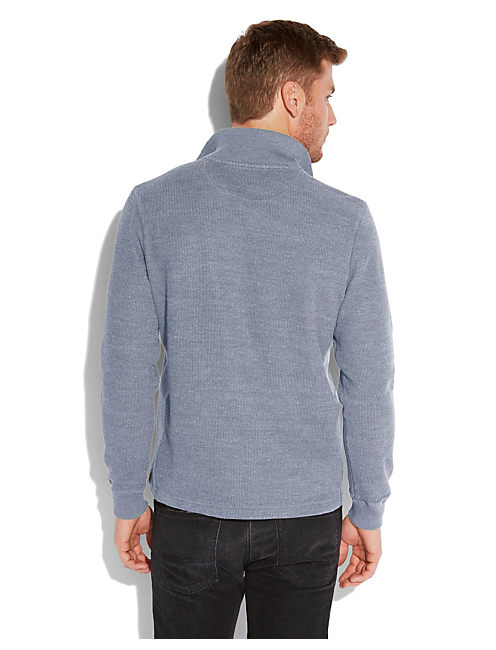 FRENCH RIB MOCK NECK, HEATHER BLUE
