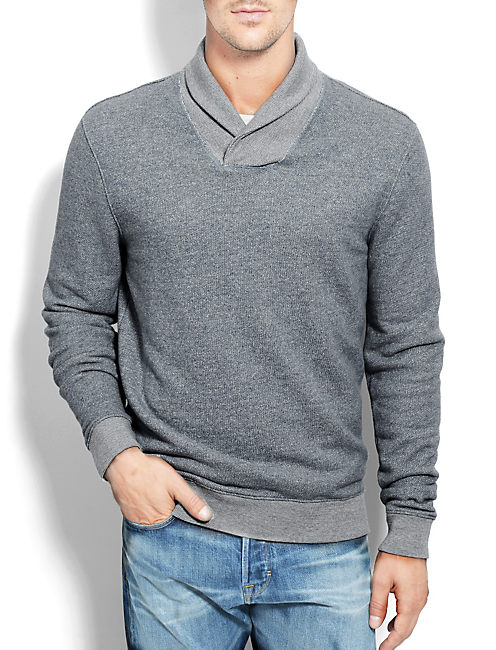 SHAWL COLLAR POPOVER, #458 BLUE
