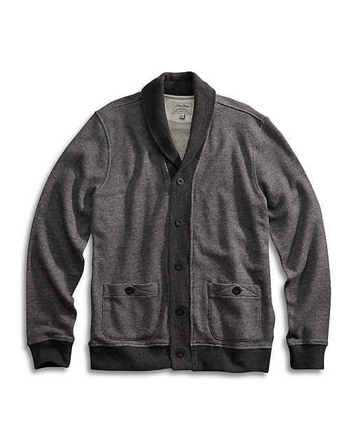 SHAWL COLLAR CARDIGAN, CHARCOAL
