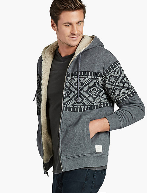 SIBERIAN PRINTED SHERPA, HEATHER GREY