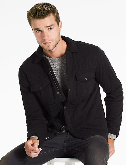 QUILTED WESTERN SHIRT JACKET, JET BLACK