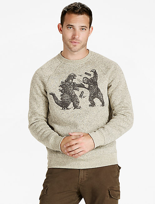 SHEARLESS FLEECE MONSTER CREW SWEATER, CREAM