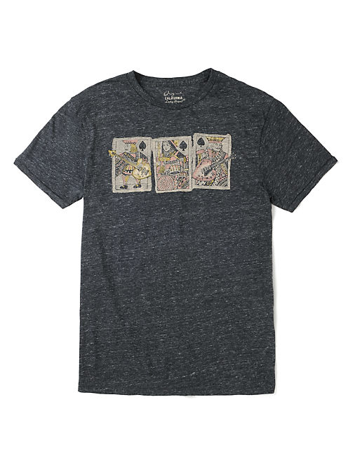 ROYAL TRIO TEE, BLACK HEATHER