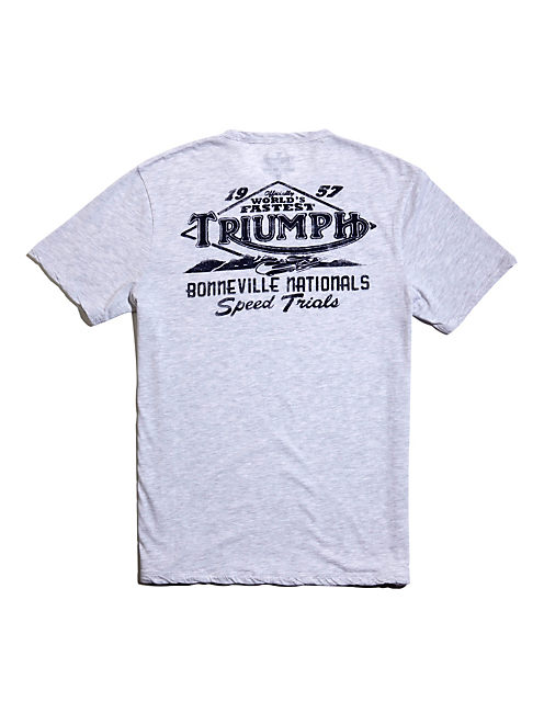 TRIUMPH PATCHED TEE, HEATHER WHITE