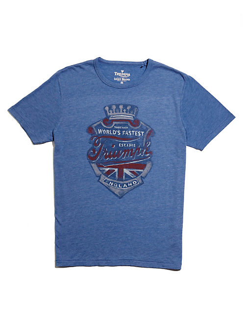 TRIUMPH CREST TEE, DUSTY BLUE HEATHER -TUSCA 8733