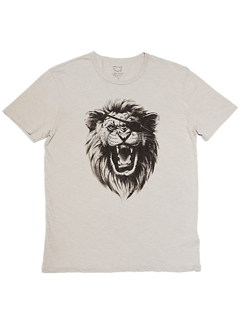 EYE PATCH LION TEE, LIGHT SMOKE