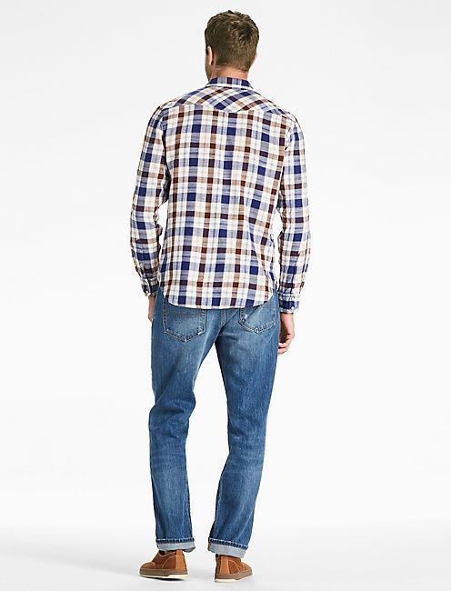 Twill Western Shirt, BLUE/BROWN