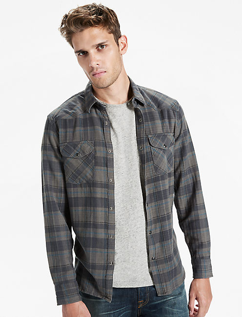 Herringbone Plaid Western Shirt, BLUE MULTI