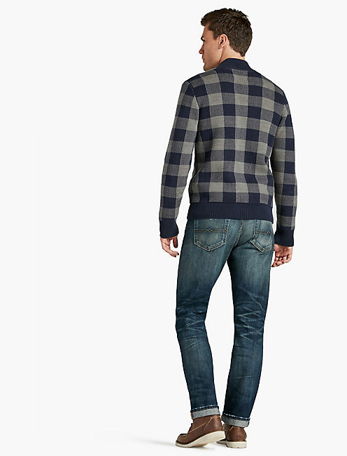 BUFFALO CHECK ZIP MOCK NECK,