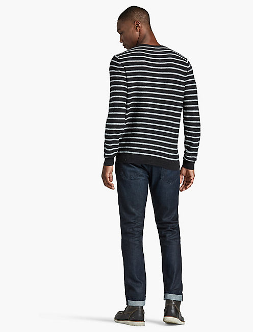 LONG SLEEVE STRIPE SWEATER, BLACK STRIPE