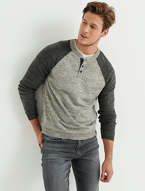 COLOR BLOCK HENLEY SWEATER, HEATHER GREY MULTI