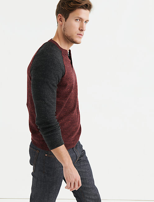 Lucky Color Block Henley Sweater