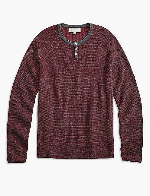 COLOR BLOCK HENLEY SWEATER, BURGANDY HEATHER COMBO