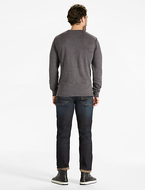 DOUBLE KNIT HENLEY TEE, CHARCOAL HEATHER