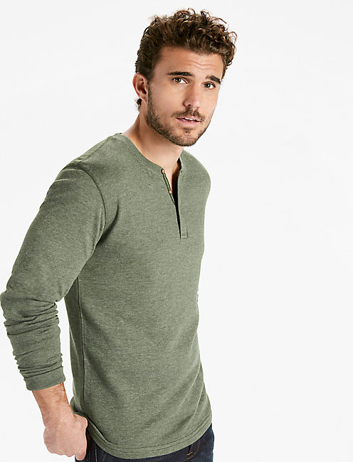 DOUBLE KNIT HENLEY TEE, OLIVE HEATHER
