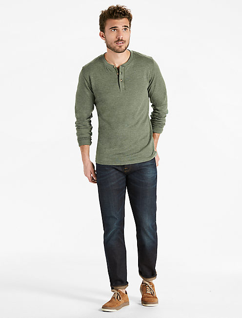 Lucky Double Knit Henley Tee