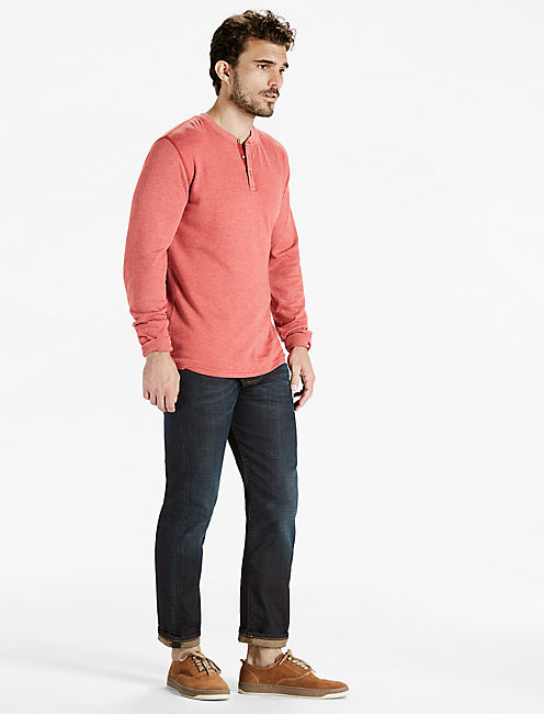 DOUBLE KNIT HENLEY TEE,