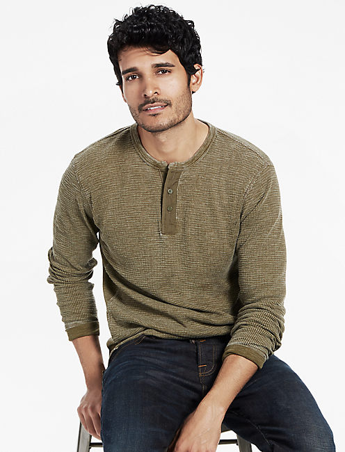 THERMAL HENLEY, DARK OLIVE
