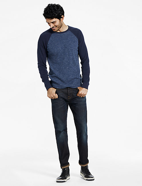 COLOR BLOCK THERMAL CREW, HEATHER NAVY