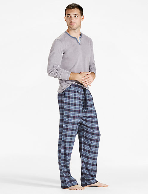 PLAID COTTON VISCOSE PANT, DARK BLUE
