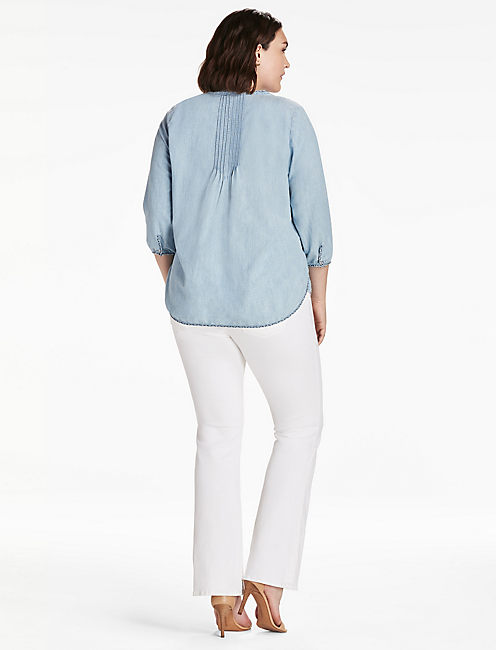 PLUS SIZE CHAMBRAY GYPSY SHIRT,