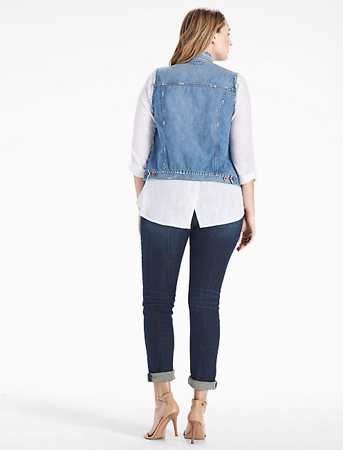 PLUS SIZE DENIM TOMBOY TRUCKER VEST, BANGS