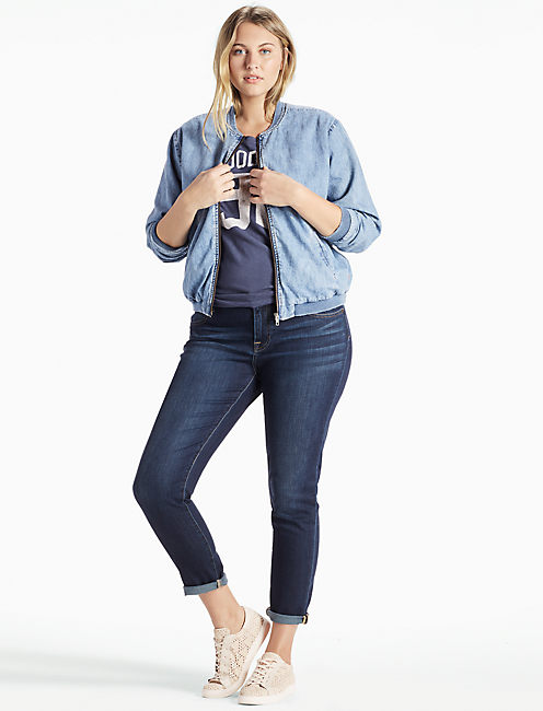 PLUS SIZE DENIM BOMBER JACKET, SWAY