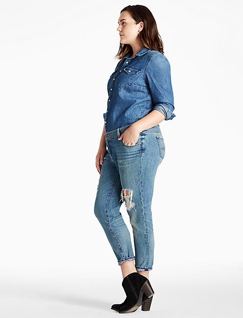 PLUS SIZE GEORGIA BOYFRIEND JEAN IN HATCH,