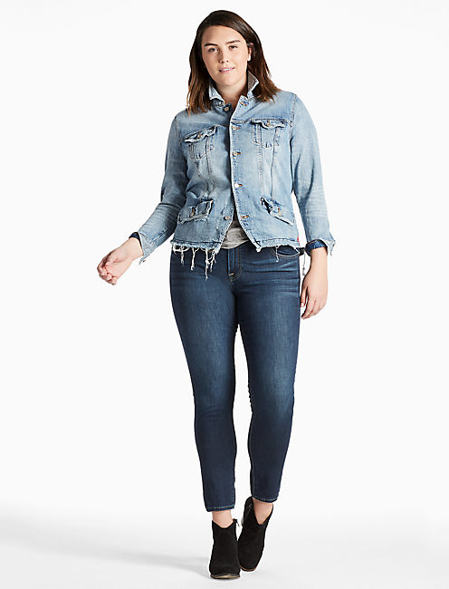 PLUS SIZE DENIM TRUCKER JACKET WITH SEAMING DETAIL, JONES