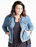 PLUS SIZE DENIM JACKET IN HANDCRAFTED,