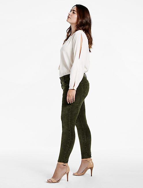 Lucky Plus Size Emma Super Skinny Jean In Green Velvet