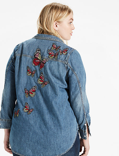 PLUS SIZE BOYFRIEND SHIRT WITH BUTTERFLY EMBROIDERY,