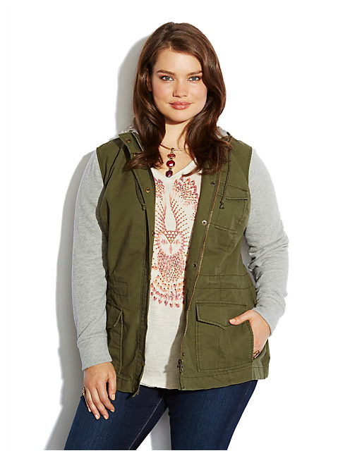 FRENCH TERRY MILITARY JKT, OLIVE MULTI