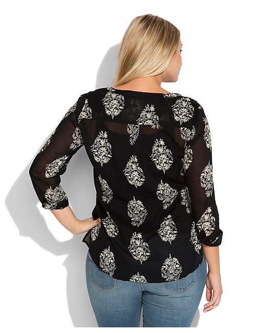 BELLFLOWER TIE FRONT TOP, BLACK MULTI