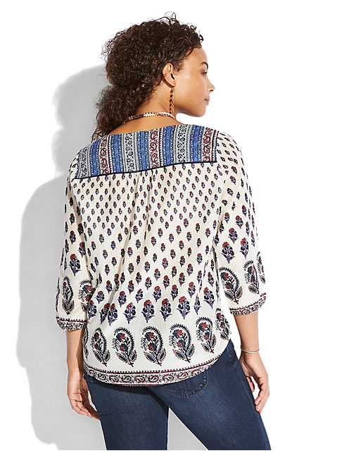 INDIAN COTTON BOHO TOP, NATURAL MULTI
