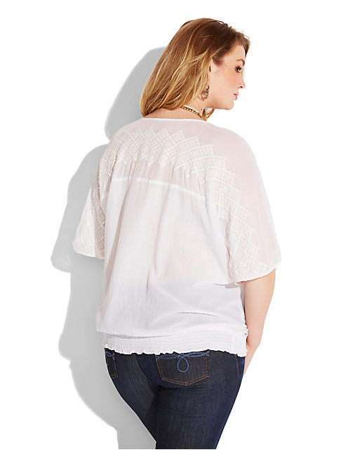 ELBOW SLV TOP W/EMB, LUCKY WHITE