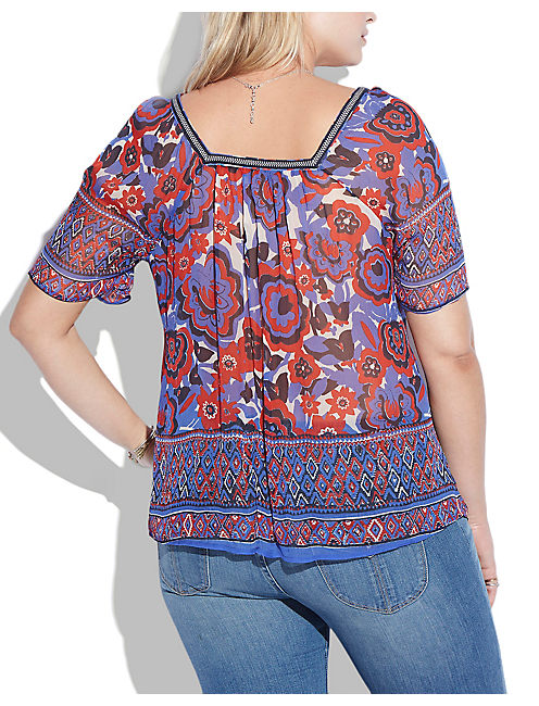 FLOWER BORDER TOP, BLUE MULTI