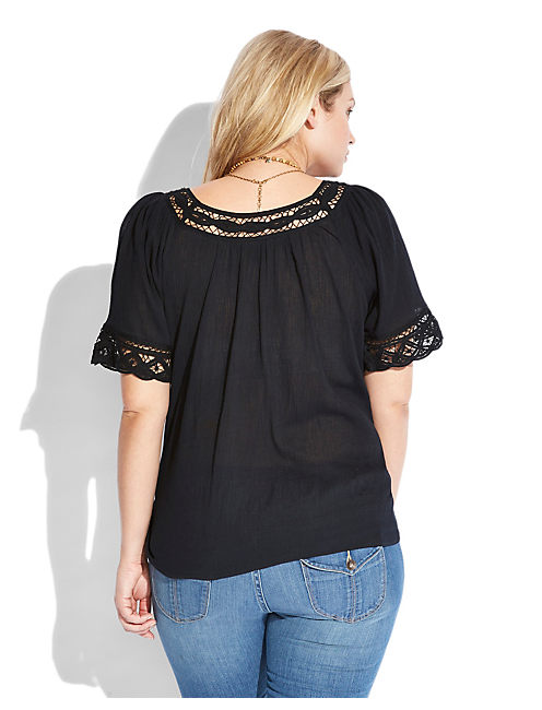 S/S TOP W/BATTENBERG LACE, 001 LUCKY BLACK