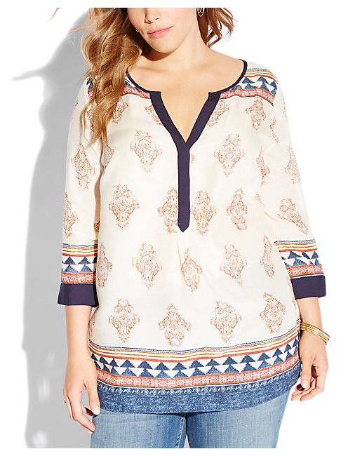 TINSLEY TUNIC, NATURAL MULTI