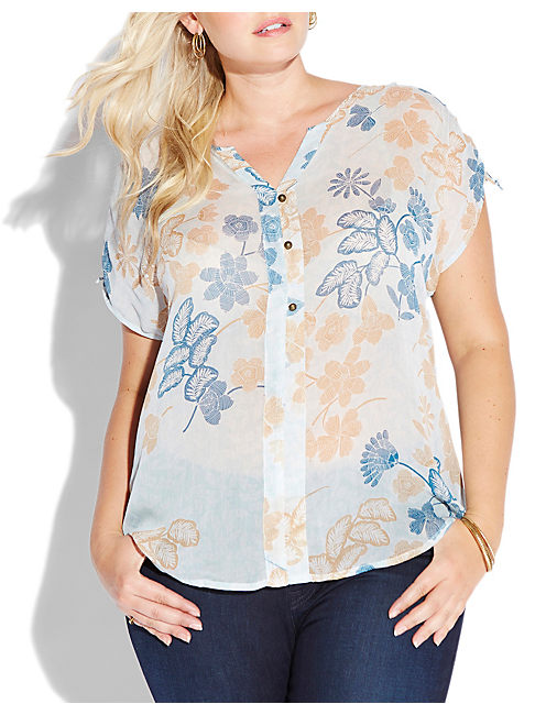 DOTTED BOTANICAL TOP, LIGHT BLUE /WHITE