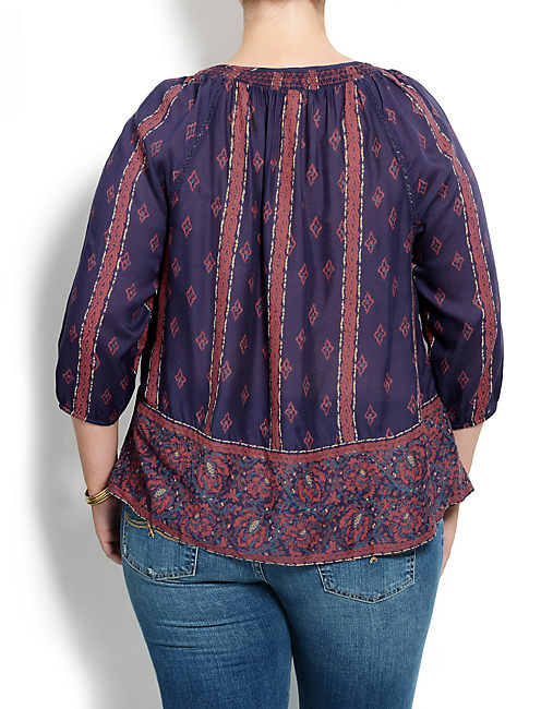 ROSIE PRINTED TOP, PURPLE MULTI